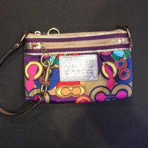 COACH Signature Poppy Pop C Colorful Wristlet/Bag